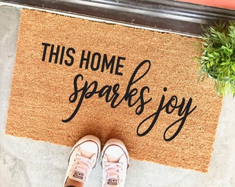 "this home sparks joy - 18x30"" doormat - housewarming gift - gifts for her - doormats - tidying up - marie condo - spark joy - outdoor mat"