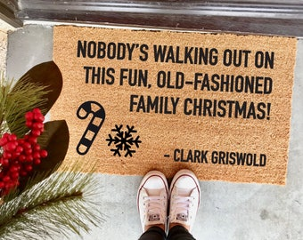 "old-fashioned family Christmas doormat - 18x30"" - Clark Griswold - Christmas Vacation - funny doormat - Chevy Chase - Sparky - mat"