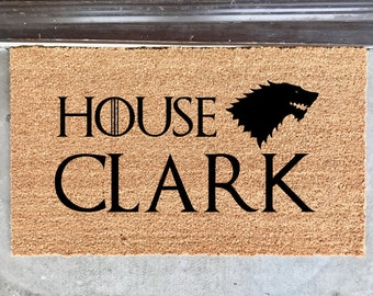 "personalized last name doormat - 18x30"" - outdoor mat - entry mat - coir mat - cocoa mat - game of thrones - got fans"