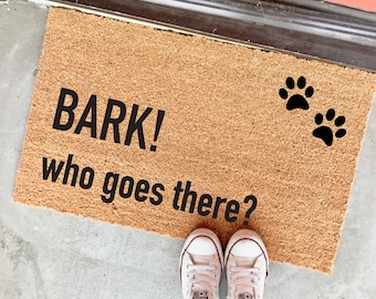 "BARK! who goes there? doormat - 18x30"" - funny dog doormat - welcome mat - dog person - paw prints - home decor - entryway - outdoor mat"