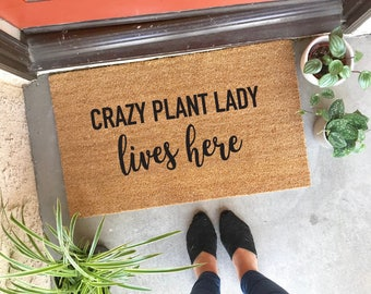 "CUSTOMIZABLE! crazy plant lady lives here doormat - 18x30"" - welcome mat - doormat - houseplants - home decor - front door - housewarming"