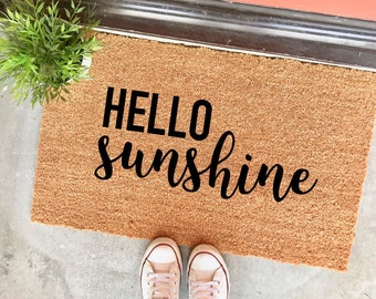 "HELLO sunshine doormat - 18x30"" - cute doormats - welcome mat - apartment decor - new home - housewarming gift - gifts for her - door mat"