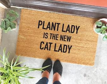 """plant lady is the new cat lady doormat - 18x30"""" - cute doormat - apartment decor - home decor - entryway - doorway - front door"""