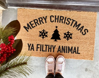 "Merry Christmas ya filthy animal doormat - 18x30"" - Christmas doormat - holiday mat - home alone 2 - lost in new york - holiday decor"