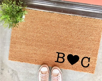 "custom initials personalized doormat - 18x30"" - couple's initials - cute doormat - wedding gift - bridal shower - heart - anniversary gift"