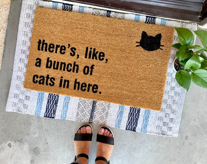 "Featured listing image: THE ORIGINAL bunch of cats in here™ doormat - 18""x30"" - cat lover - funny doormats - cat lady - housewarming"