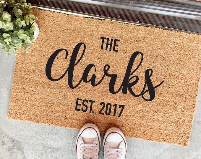"Featured listing image: custom last name and established date personalized doormat - 18x30"" - custom mat - wedding gift - housewarming - realtor - closing gift"