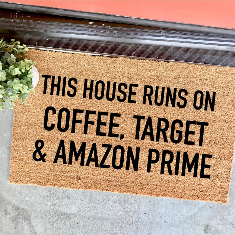 image 0 ... & CUSTOMIZABLE Coffee Target and Amazon Prime doormat | Etsy