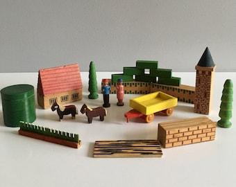 Vintage Erzgebirge miniature wooden village, farm.