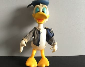 "Vintage Donald Duck plastic figure, Walt Disney product, 9"" tall. 1960's"