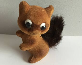 Vintage flocked squirrel, made in hong kong, 1970's.