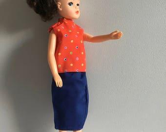 Vintage Sindy Clothes, 1980's blouse, skirt.