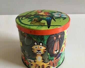 Vintage Blue Bird toffee tin, jungle animals design.