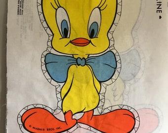 Vintage Tweetie Pie cloth toy cut n sew fabric panel.