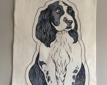 Vintage Spaniel dog cloth toy pattern, cut n sew cotton panel.