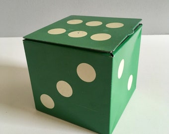 Vintage Hollands toffee dice tin with poker chips.