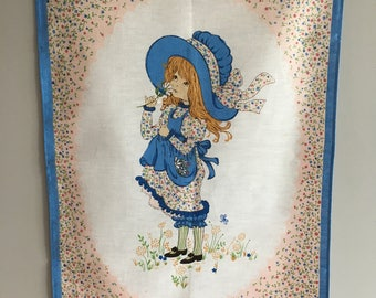 Vintage Holly Hobbie, Sarah Kay style Tea Towel, wallhanging. As new condition