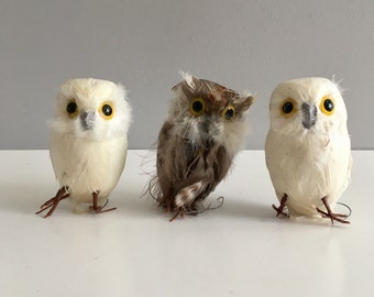 Vintage Owls spun cotton and feathers on wire.