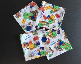 Vintage Paddington bear Harrods handkerchiefs.