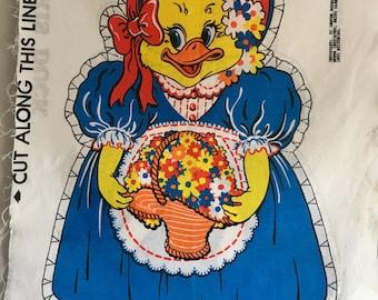 Vintage duck cut n sew fabric panel.