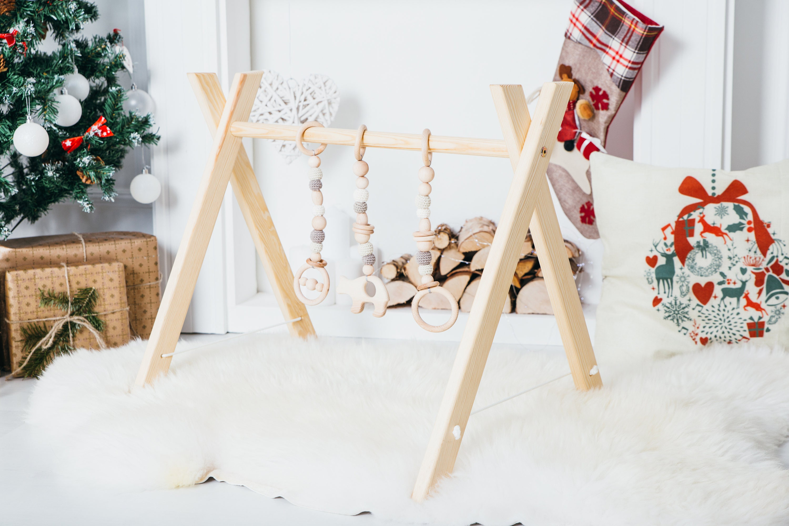 Baby gym with or without toy set / Wooden baby gym / Activity Gym and Baby Gift / Wooden Mobile