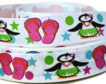 Cute Lil Penguin Fabric Covered Button Hair tie  bobble-medium