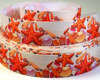"7/8"" Starfish and Seashell Beach Print Grosgrain Ribbon"