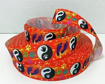 """1"""" Yin and Yang Printed Grosgrain Ribbon - Foot and Paw Print Ribbon"""