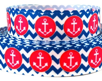 "Anchor Ribbon - Red Anchor on Blue/White Chevron - 1"" Printed Grosgrain Ribbon"