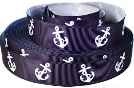 "1-1//2/"" Navy Blue Anchor Grosgrain Ribbon Nautical Ribbon"