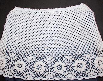 White crocheted mini skirt