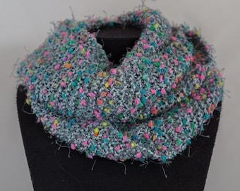 grey snood, neck circumdle, tubular scarf
