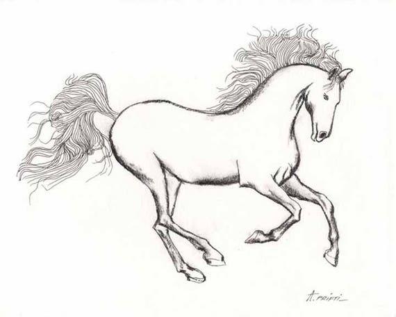 Afdrukken Van De Oorspronkelijke Paard Tekenen Paard