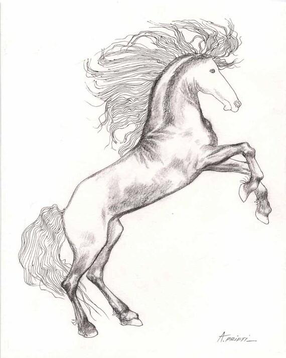 Uitgelezene Kleine tekening paard 8 X 10 kleine tekening lijntekening | Etsy RT-46