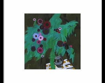 Print of ACRYLIC STILL LIFE painting, still life prints, floral art prints, flower bouquet print, art nouveau, floral art painting, home art