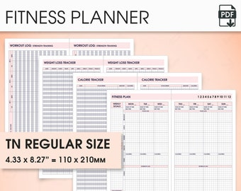 Fitness standard travelers notebook inserts printable, standard tn inserts wo2p.v (health planner, fitness tracker, fitness journal)