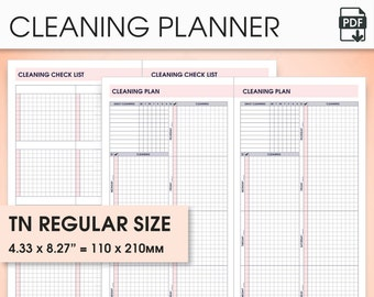 Cleaning planner standard travelers notebook inserts printable, standard tn inserts (cleaning inserts, cleaning checklist)
