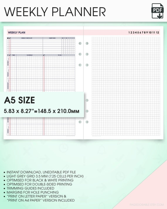 a5 planner inserts weekly undated planner printable wo1p (a5 weekly planner template, a5 weekly printable planner, week on one page)