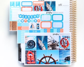 Nautical MINI Weekly Kit (stickers for Erin Condren Life Planner - Vertical)