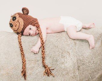 The Cheeky Monkey Hat/Beanie (baby to adult sizes)