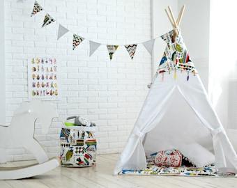 Kids teepee, White teepee, play tent, play fort, Teepee tent, Playhouse, Tipi, Kids teepee tent, Canvas Teepee, Children's Teepee, Teepee