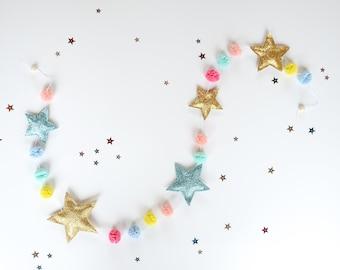 Shine star garland, Gold star garland, Glitter star garlands, Nursery star garland, Rainbow wall decor, Nursery banner