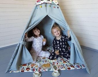 Teepee tent, kids teepee, kids teepee tent, gray teepee, gray teepee tent, playhouse, canvas teepee, teepee with pompoms, pompoms teepee