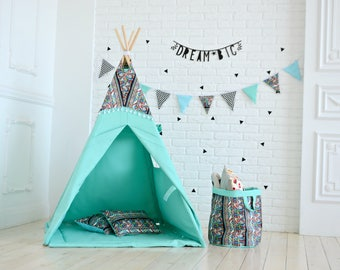 kids teepee, turquoise teepee, teepee tent, kids teepee playhouse, kids teepee tent, tipi, playhouse, teepee playhouse, kids playhouse