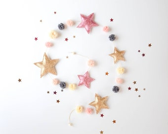 Star garland, Glitter star garland, Pompom star garland, Gold glitter star garland, Star banner, Pink and gold banner