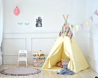 Play Tent, Kids Teepee, Childrens Teepee, Teepee Tent, Tipi, Playhouse, Teepee play tent, Play Fort, Yellow Teepee, Teepee, Kids teepee tent