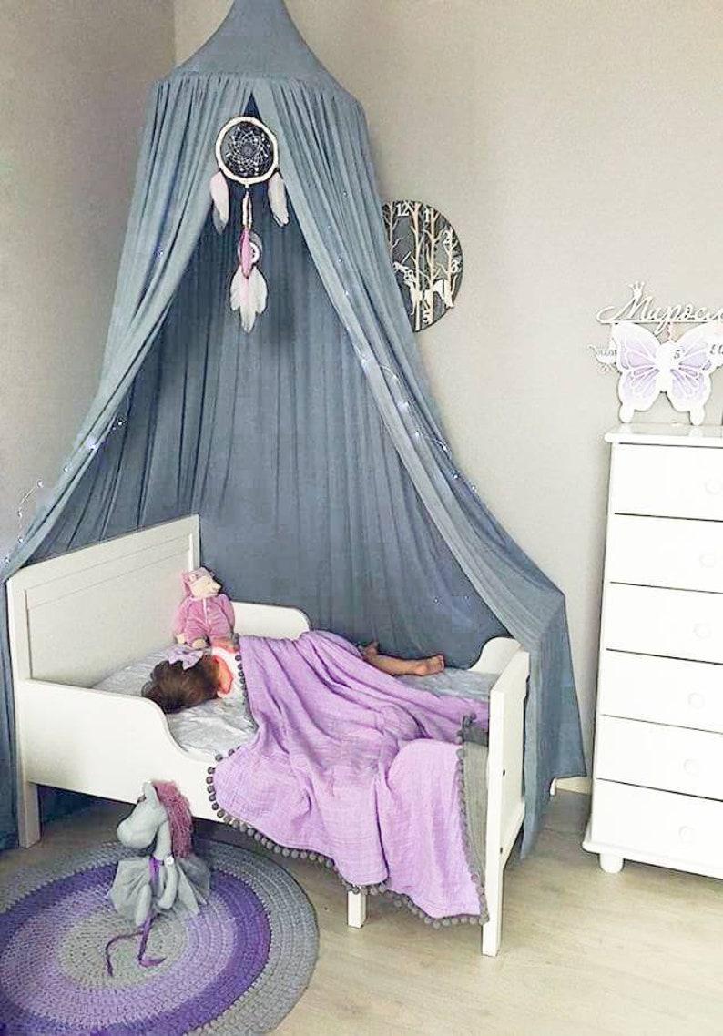 Grau blau Spielen Baldachin, Kinderzimmer Baldachin für Bett, hängende  Baldachin, Kinder Baldachin, Leinen Dach, Spielen Baldachin für Mädchen, ...