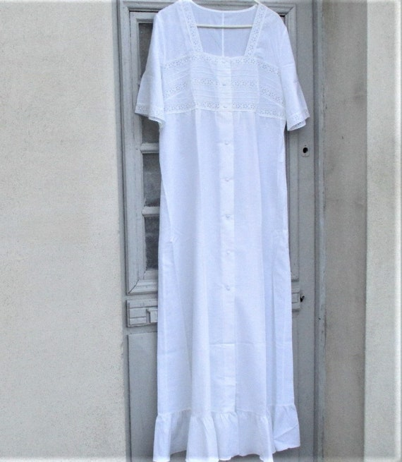 Vintage French Nightdress, cotton nightdresses, Fr