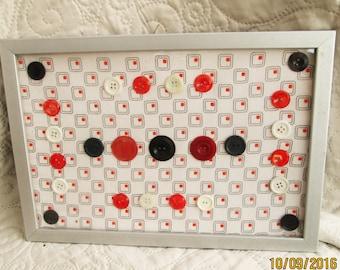 Vintage Button Art, 1960's art, 1960's fabrics, red buttons, black buttons, white buttons, housewarming gifts, original art, geometric art
