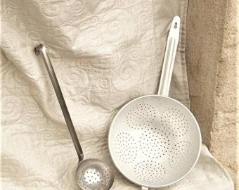 VINTAGE FRENCH KITCHEN, utensils, vintage strainers, vintage aluminum, 1940's utensils, vintage ladles, kitchen items,
